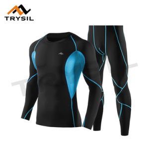 Men Long Sport Wear Suit Shirt and Legging for Gym