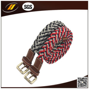 Custom Made Kid Woven Elastic Belts with Zinc Alloy Buckle
