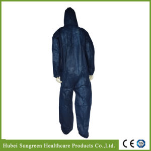 Disposable Dark Blue PP Non-Woven Coverall, Protective Clothing pictures & photos