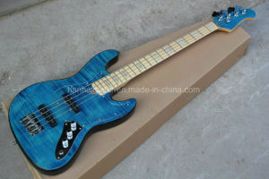 Hanhai Music/Blue Electric Bass with Flame Maple Veneer pictures & photos