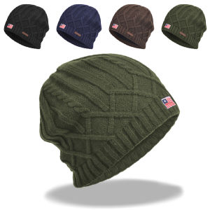 Winter Cable Knitted Beanie, Warm Fleece Lining Hat (A725)
