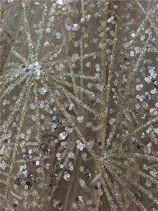 Custom Pattern Sprinkle Gold Sequins Thread Embroidery Fabric for Evening Dress