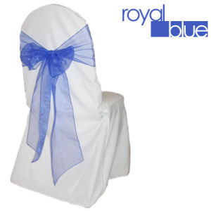 Royal Blue Organza Sash, Chair Sash