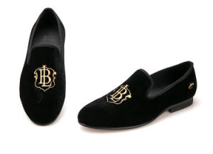 3e917a2072e94 Embroidery Mens Velvet Loafers Casual Style Black Velvet Men Shoes