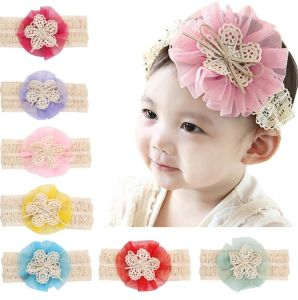 China babies Girls Elastic Headband Chiffon Flower Photography ... 8127063cbba