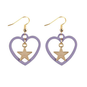 Simple Elegant Lover Heart Earrings Drop Alloy Dangle Star Ear Studs For Women Fashion Jewelry