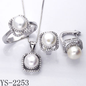 Pearl Jewelry 925 Sterling Silver Jewelry Set with CZ. pictures & photos