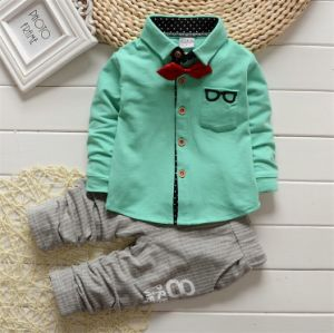 Ks1913 Top Quality Glasses T-Shirt +Pants Two-Piece Kids Fashion Set with Bow Knot pictures & photos