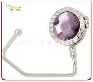 Quality Gemstone Decoration Metal Handbag Hook with Mirror Inside pictures & photos