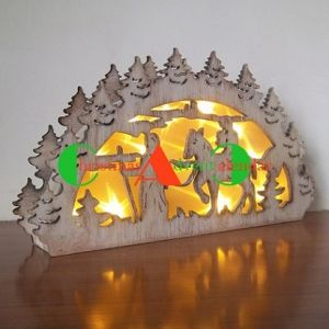 wooden laser cut ornament with led light christmas gift - Wooden Led Christmas Decoration
