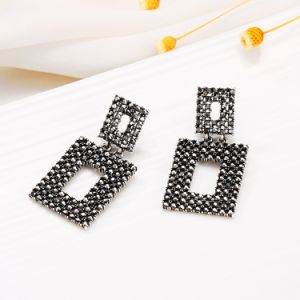 Black Crystal Drop Earring E49