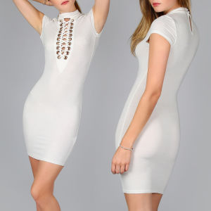 Fashion Women Sexy Slim V-Neck Bandage Bodycon Dress pictures & photos