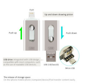 3in1 OTG Flash Drive U Disk Memory Stick USB for iPhone Ios Android iPad PC 8/16/32/64/128GB pictures & photos