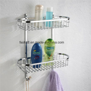 Wall Mounted Oval Bathroom Basket with Double Shelf (8812) pictures & photos