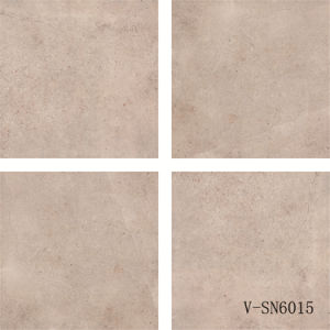 Porcelain Matte Finish Grey Natural Cement Flooring Tile with Flower Accessory (600X600mm)