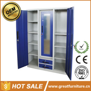 Indian New Design Furniture 3 Door Iron Wardrobe with Mirror pictures & photos