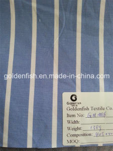 Yarn Dyed Shirting Fabric in Stripe (White on Sky blue)