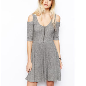Gorgeous Customized Zip Front Casual Jersey Dress (JK023)