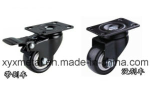 Medium Duty Caster Rotating Caster. Double Bearing Electroplate Black Plate, Mute Design., PU Castor pictures & photos