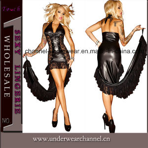 Sexy Women Black Cosplay Costume Club Wear Cocktail Dress (TLQZ201501) pictures & photos
