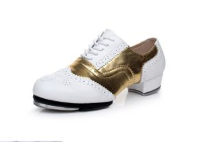 Unisex Soft Cow Leather White&Golden Tap Shoes for Both Men and Women