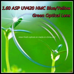 1.60 Asp UV420 Hmc Blue/Yellow Green Optical Lens