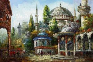 Handmade Turkey Landscape Palette Knife Oil Painting