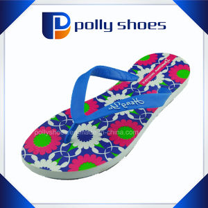 Cheap Wholesale EVA Lady Flower Straw Flip Flop pictures & photos