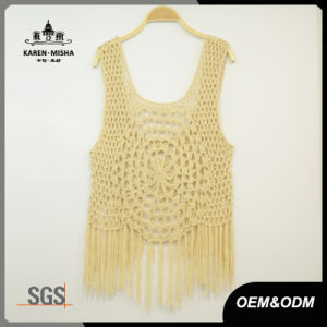 Ladies Crochet Tank Top with Fringe Hem pictures & photos