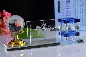 Office Gifts Crystal Pen Holder with Crystal Terrestrial Globe pictures & photos