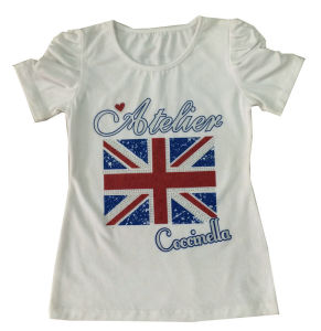Active Kids Girl UK Flag T-Shirt for Children′s Clothing Sgt-049