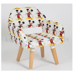 North European Style Wood Leg Children Chair Fabric Upholstery