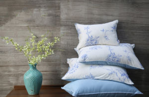 Luxury Flower Pirnting Cover Grey Duck Down Pillow for House
