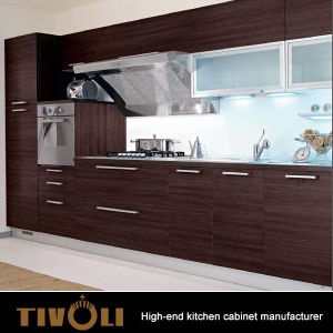China Wenge Veneer Laminate Kitchen Cabinets With Horizontal Grain