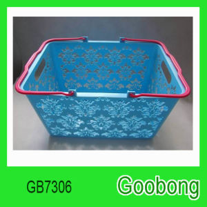 Plastic Flower Design Hand Shopping Home Storage Basket