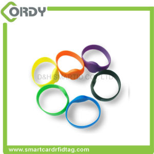 Engrave or Silk Screen Printing ISO14443A FM11RF08 Silicone Wristbands 13.56MHz