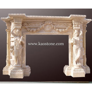 Fireplace Mantel, Natural Stone Yellow Marble Fireplace for Indoor & Outdoor pictures & photos