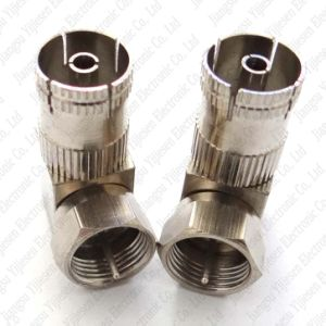 F-type F Push On Male plug to PAL Female Connector Straight Adapter Coax TV