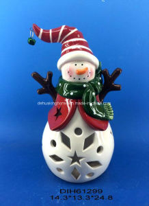 Color Changing Led Lighted Ceramic Snowman For Christmas Decoration