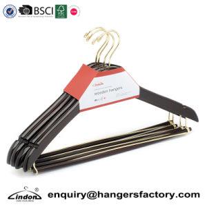Gold Hook Mahogany Contour Shape Wood Suit Hangers With Locking Bar