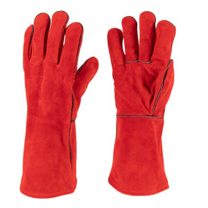 Cow Split Leather Red Welted Heat Resistant Welding Glove (6504. RD)