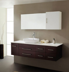 Espresso Solid Wood Bathroom Cabinet with Twice Coating pictures & photos