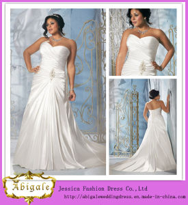 Hot Elegant Satin Ivory Ruched Beaded Sweetheart Lace up Back Sleeveless Sweep Train Wedding Dresses for Fat Woman Yj0028