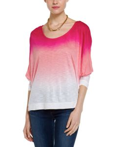 Ladies′ 100%Viscose Slub DIP Dye or Solid Dolman Sleeves T-Shirt (DTT7)