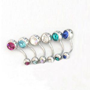 Attractive New Stripes Steel Ball Cute Navel Belly Button Ring Bar Body Piercing