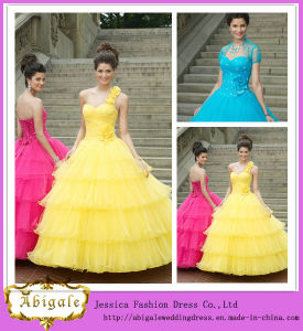 2017 Hot Sale Style Ball Gown Colorful One Shoulder Lace Back Floor Length Layered Organza Skirt China Quinceanera Gowns (MN1354)
