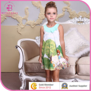 O-Neck A-Line Little Girl′s Pagnent Printed Summer Dress, Fashion Clothes