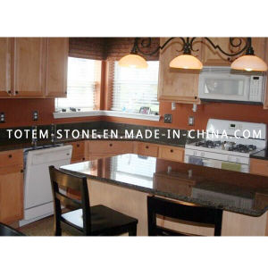 Natural Granite Black Stone Kitchen Countertop with Bar Top