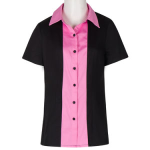 China Wholesale Custom Pink Splicing Women′s Button Down Shirts Work ... 0fa205721