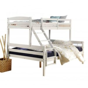 China Triple Wood Bunk Bed Modern White For Children China 3 People Bed Kids Wooden Bunk Bed